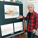 洋画家 中尾安希さん 和歌浦で描いた初日の出 5月 20年分まとめて展示
