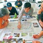 災害に備え防災マップ 口須佐地区 避難路を複数設定