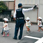 津波から避難 きびきびと くるみ保育園 交通安全講習も