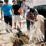 漁網で市堀川清掃 川さらい隊 水辺の価値アピール