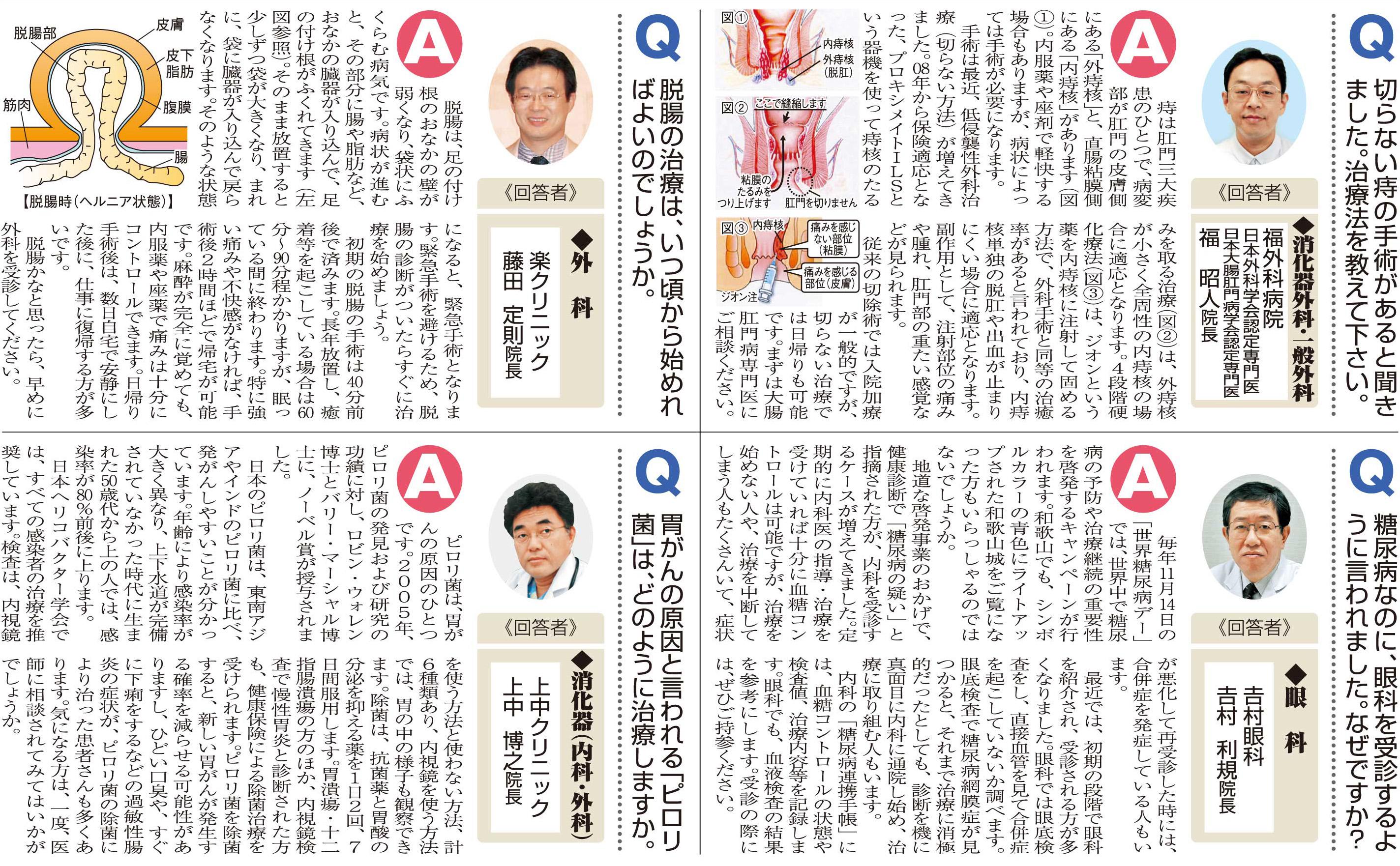 おしえて!マイドクター「痔」「糖尿病」「脱腸」「ピロリ菌」(2016.12.24)