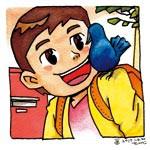 今年の干支とりが主役の創作童話コンクール 優秀賞「えがお鳥」高松小4年 岡田 葵