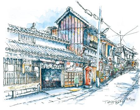 和歌山の風景描いた淡彩画