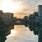 市堀川に沈む夕日