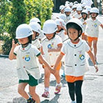 くるみ保育園が高台へ避難訓練