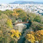 天守を望む本丸御殿 名残の「七福神の庭」
