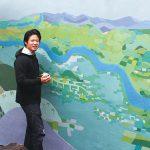 壁画で望む紀州富士〜高嶋宏至さん カフェに