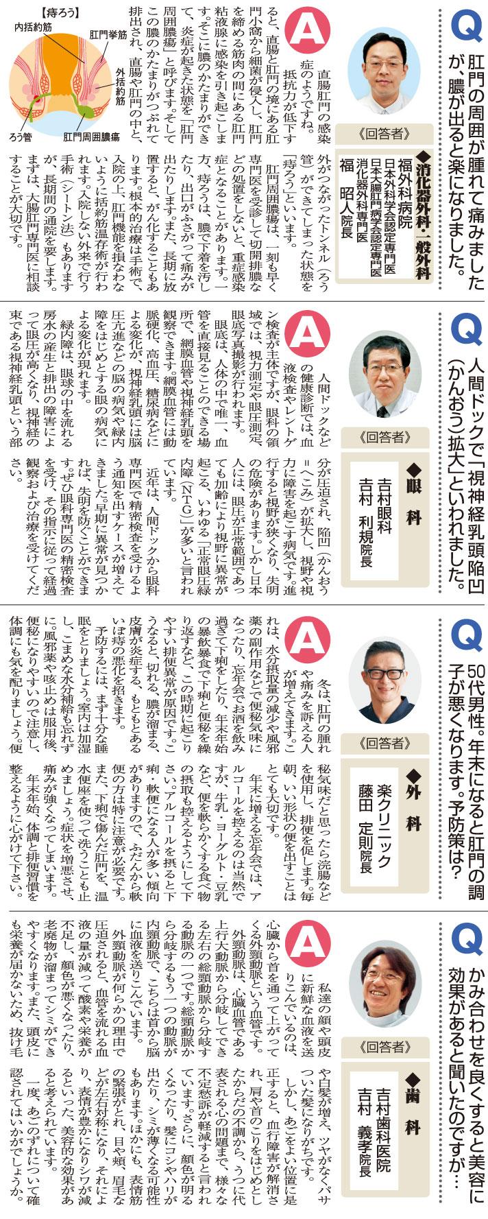 おしえて!マイドクターQ&A「痔ろう」「視神経乳頭陥凹拡大」「下痢・便秘」「かみ合わせ」(2018.12.22)