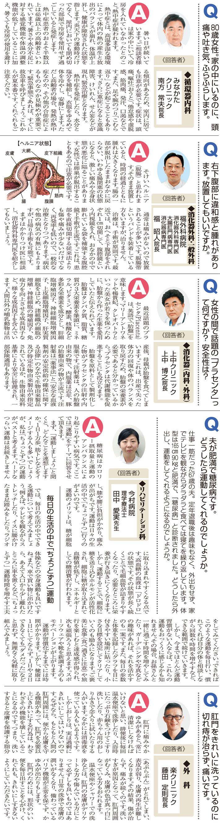 おしえて!マイドクターQ&A「熱中症」「脱腸」「プラセンタ」「糖尿病」「切れ痔」(2019.7.27)