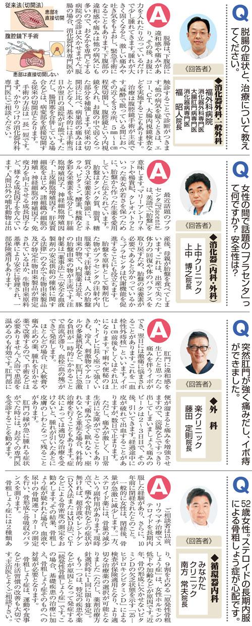 おしえて!マイドクターQ&A〜「脱腸」「プラセンタ」「イボ痔」「骨粗しょう症」(2020.1.25)