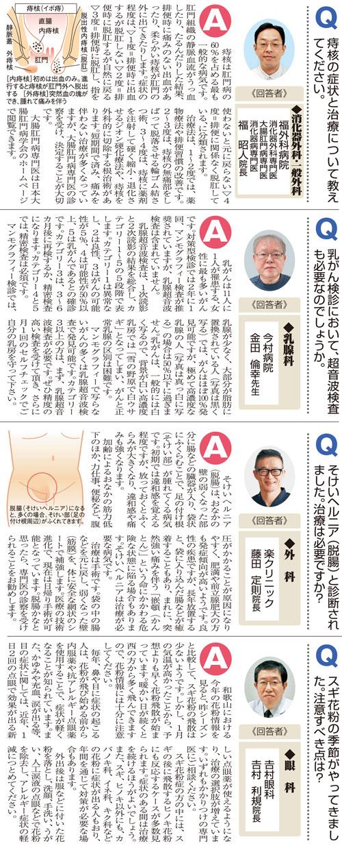 おしえて!マイドクターQ&A〜「痔核」「乳がん」「脱腸」「スギ花粉症」(2020.2.22)